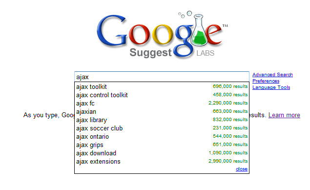 Figure 1. Results for ajax from Google Suggest
