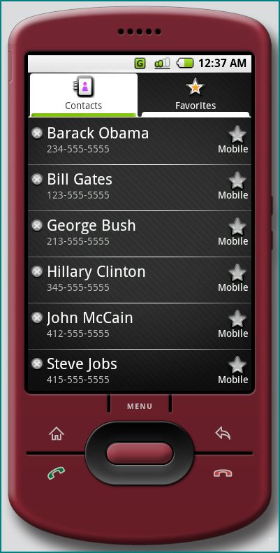 Figure 8. A list of contacts