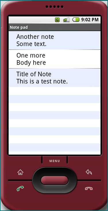 Figure 1. Notes in the Note pad application