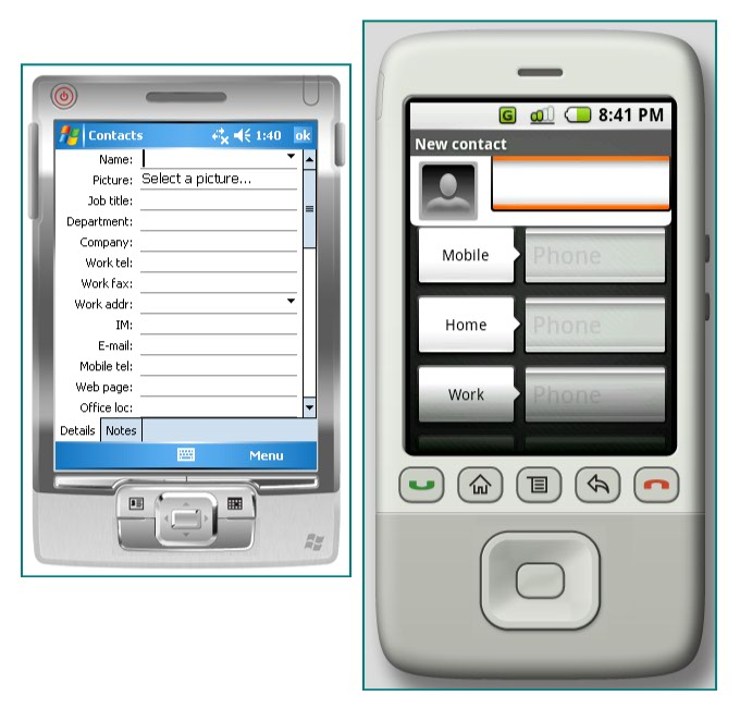 Figure 8. The Contacts application in Windows Mobile and Android