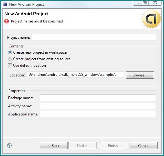Figure 4. Creating a new Android Project from Eclipse (available after installing the plugin)