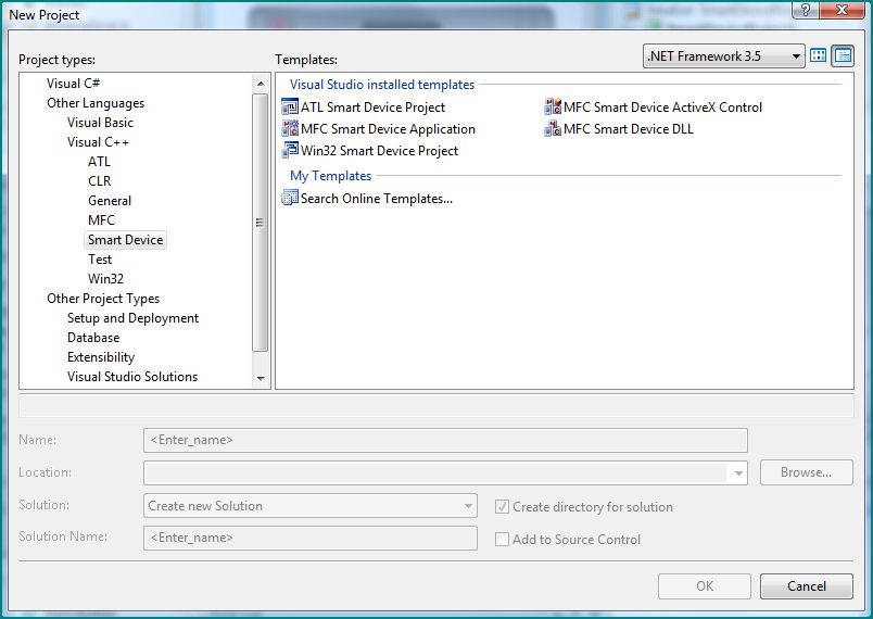 Figure 3. Smart Device Projects using Visual C++ (uses older, low-level technologies)