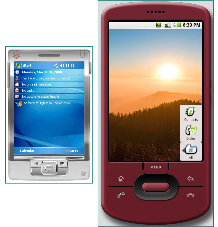 Figure 1. Windows Mobile and Android devices without keyboards