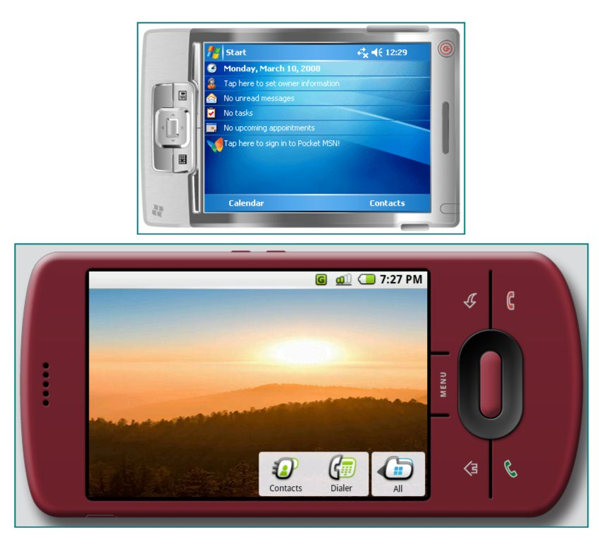 Figure 5. Windows Mobile and Android devices in landscape mode