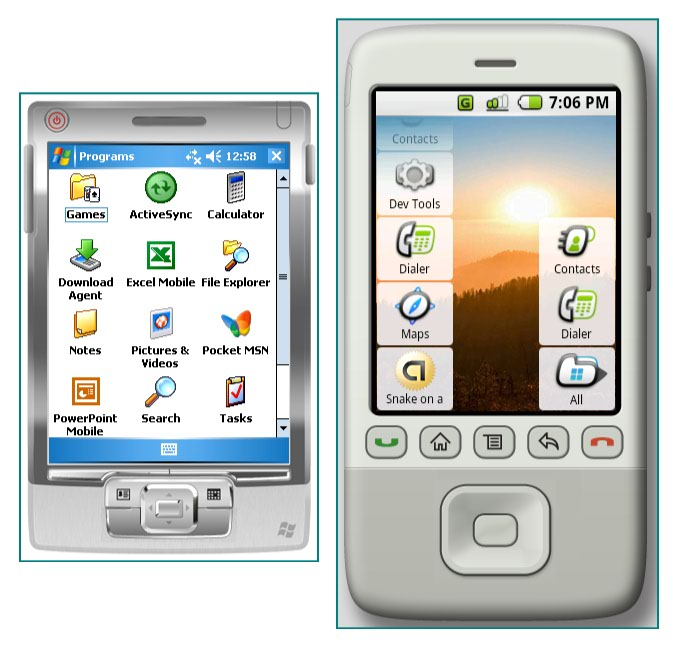 Figure 4. Applications on Windows Mobile and Android