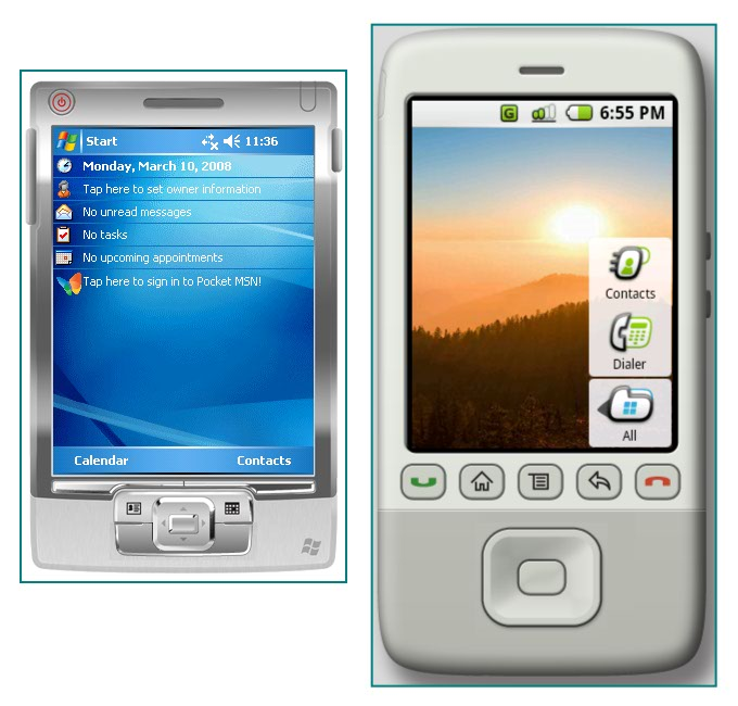 Figure 2. Similar sized Windows Mobile and Android PDAs without keyboards