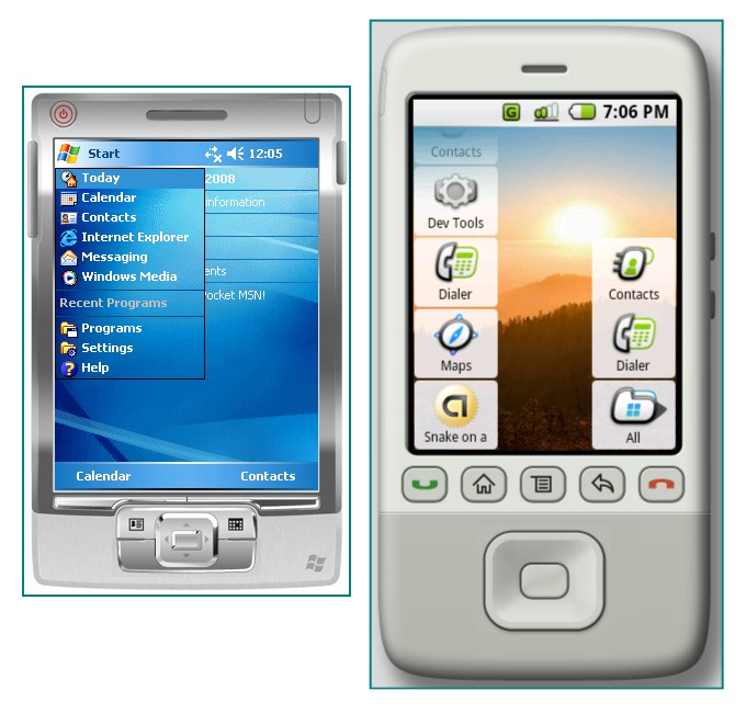 Figure 3. The Start/All menu on Windows Mobile and Android