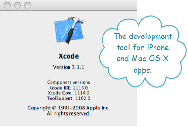 Figure 4. About Xcode Version 3.1.1. This can be used for developing applications for Mac OS X, iPhone, and iPod Touch.