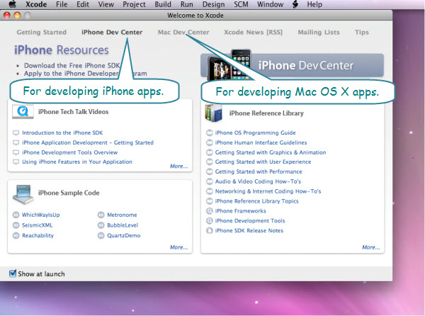 Figure 3. The Welcome window of Xcode. The iPhone Dev Center and Mac Dev Center provide links to videos, code, and reference material.