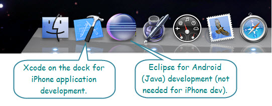 Figure 2. The Dock with Xcode on it. It's the one with hammer and blueprint signifying designing and building. Here, the icon next to it is Eclipse, another development tool for Java-Based programming.
