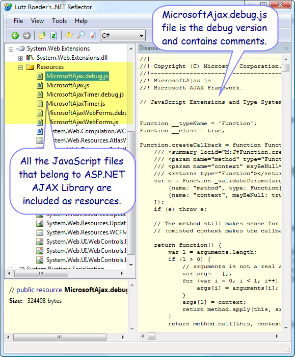 Figure 3. System.Web.Extensions assembly under .NET Reflector