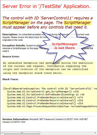 Figure 4. Absence of ScriptManager