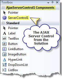 Figure 2. AJAX Server Control in the tool box