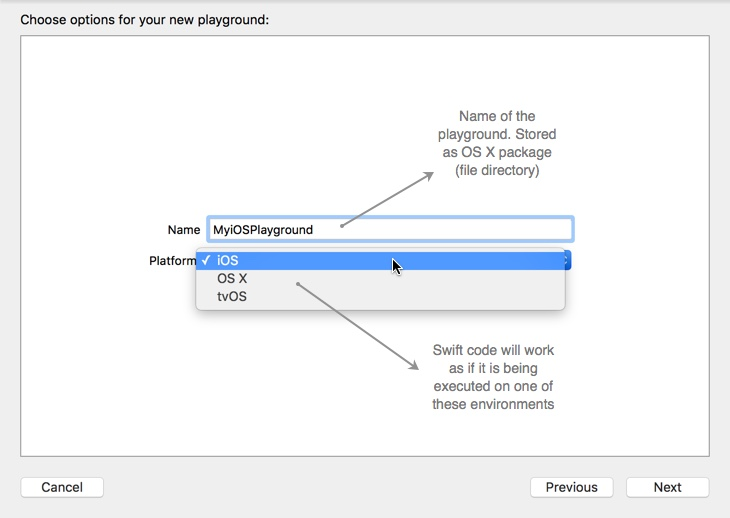 Figure 1. Create a playground for iOS or OS X or tvOS