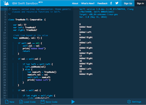 Figure 3. IBM Swift Sandbox