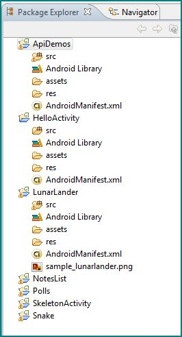 Figure 1. Several Android Applications open in the Package Explorer