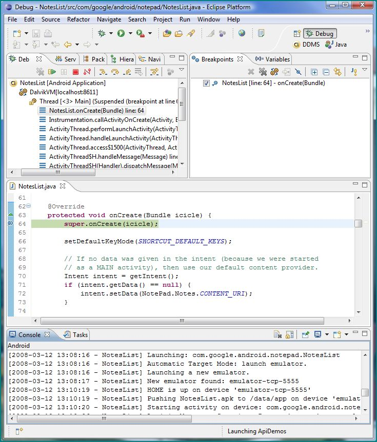 Figure 3. The Debug Perspective for an Android Application