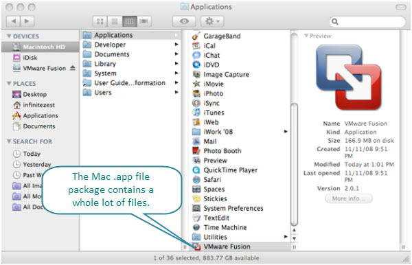 Figure 8. VMware Fusion.app application package is in the Applications Folder. Like other Mac .app packages, inside this you will find libraries, resources, executable, etc. needed for that program to run.
