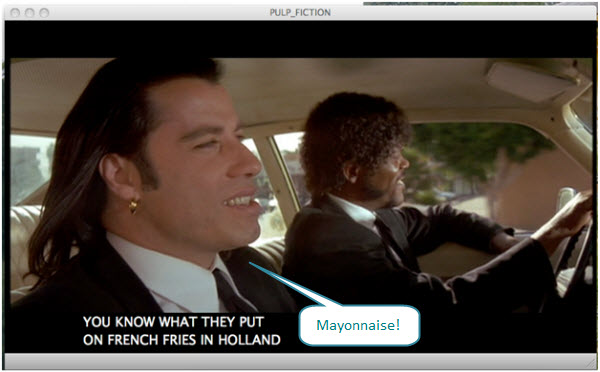 Figure 18. You can play DVD (movie Pulp Fiction shown here) on Mac OS X. But, while the DVD is recognized on both Vista and Ubuntu virtual machines, it can NOT be played on either. These virtual machines were created with Fusion 2.01.