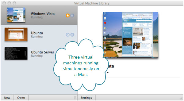 Figure 5. The virtual machine library from VMware Fusion. You can see the three virtual machines - Windows Vista, Ubuntu, and Ubuntu Server – running simultaneously on this iMac.