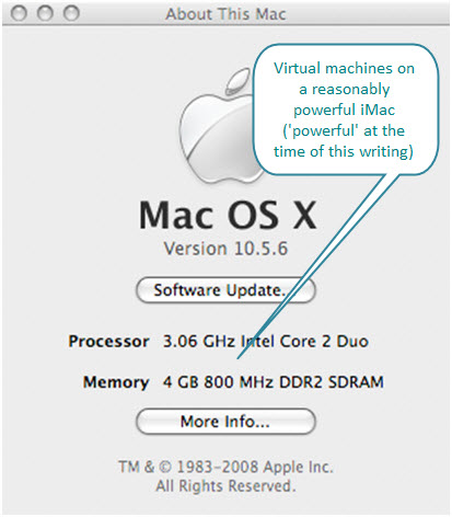 Figure 1. The specifications of iMac where these multiple virtual machines are installed.