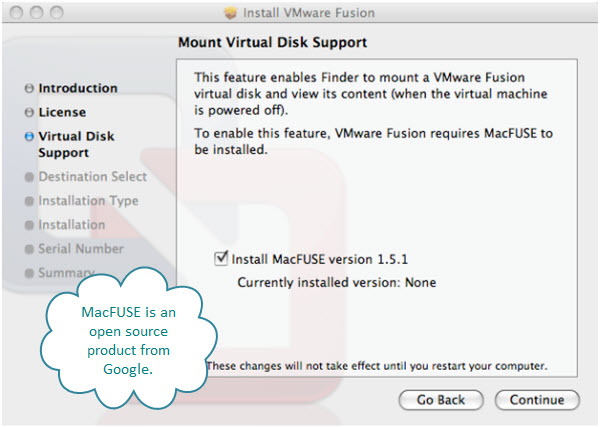 Figure 5. Installing MacFUSE – it stands for Mac File system in USEr space. This is an open source product from Google.
