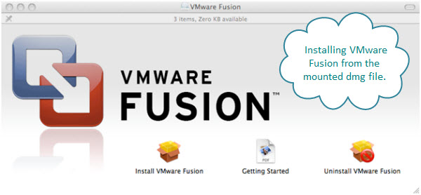 Figure 3. The opening screen from the dmg file of VMware Fusion. This software helps create and manage virtual machines with various operating systems like Windows and Linux.