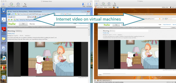 Figure 17. Watching Family Guy on hulu from Internet Explorer inside a Windows Vista virtual machine created with VMware Fusion on a Mac. Second half of the picture is watching hulu from FireFox on an Ubuntu (Linux) virtual machine created with VMware Fusion on a Mac.