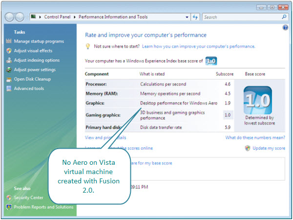 Figure 15. Aero is not possible on a Vista virtual machine created with Fusion 2.01.