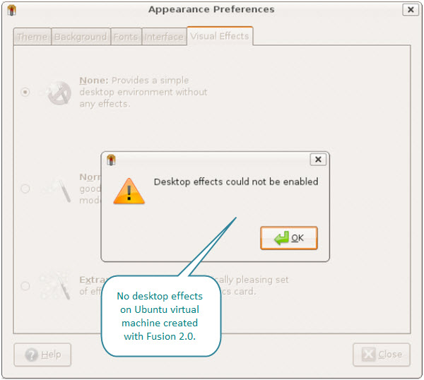Figure 16. Desktop effects are not possible on Ubuntu virtual machine created with Fusion 2.01.