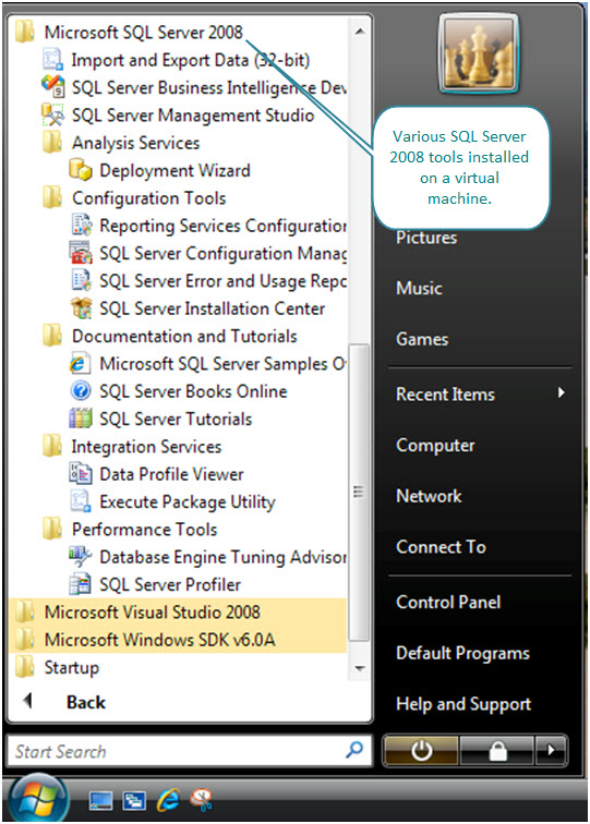 Figure 1. SQL Server 2008 Tools installed on a Windows Vista Ultimate virtual machine created with VMware Fusion.