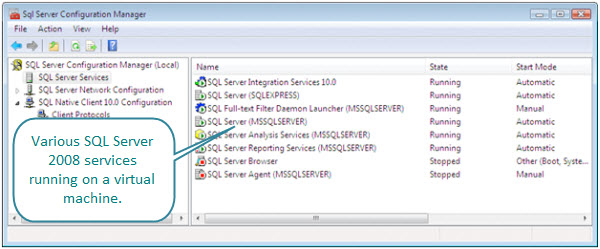 Figure 2. SQL Server Services from the SQL Server Configuration Manager. These services are running inside a Vista virtual machine on an iMac.