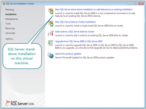 Figure 4. Stand-alone installation of SQL Server 2008 on a Windows Vista virtual machine. From here an instance of SQL Server can be created, as well as the database tools installed.