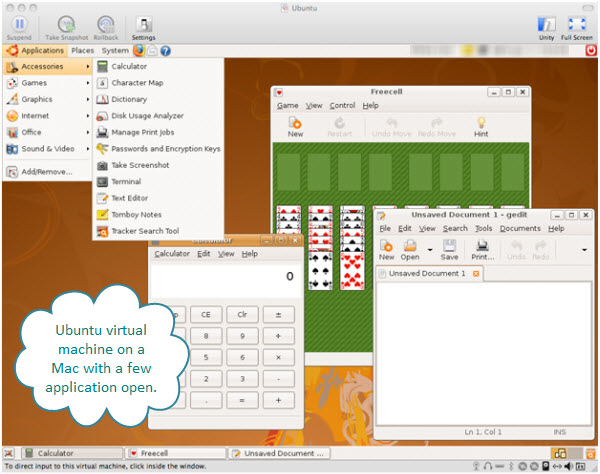 Figure 1. The main window of Ubuntu as a Fusion created Linux virtual machine. You can see a game, an editor, and a calculator on this virtual machine running on a Mac.