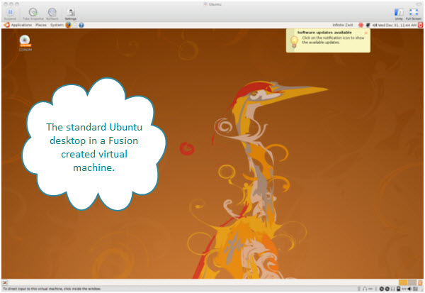 Figure 6. First screen of Ubuntu desktop after logging in. The top holding window belongs to Fusion and the machine here is iMac.