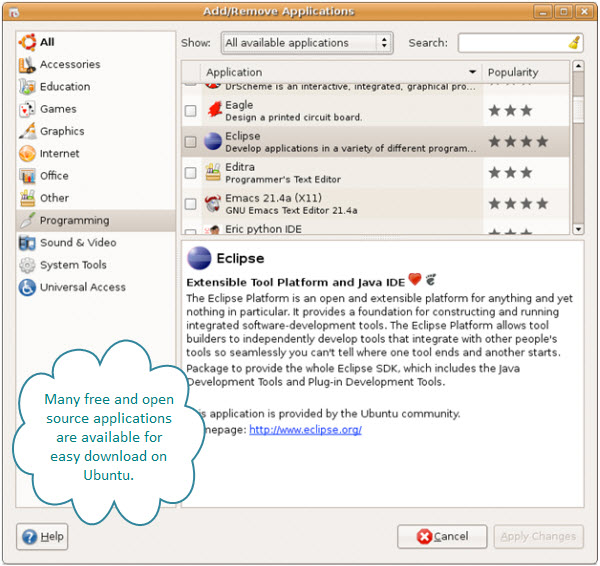 Figure 5. Many free / open source applications are available to install on Ubuntu. Here Eclipse is shown in the Add/Remove Applications dialog box.
