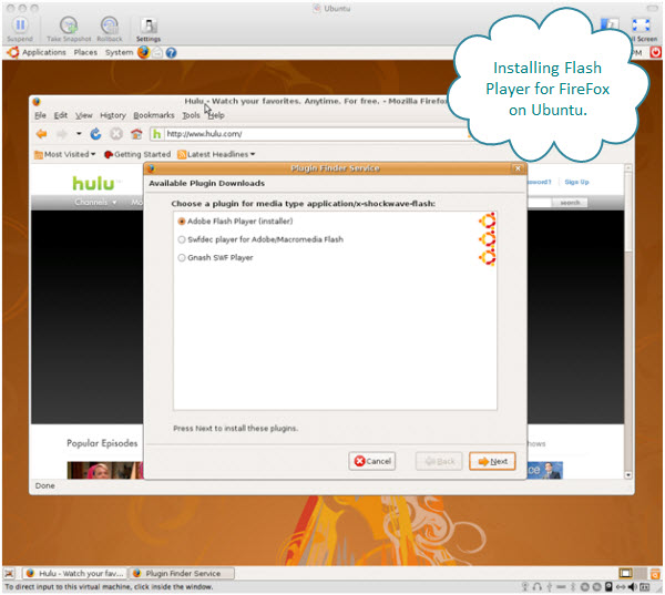 Figure 10. Installing the Adobe Flash Player for use in FireFox on Ubuntu virtual machine running on a Mac.