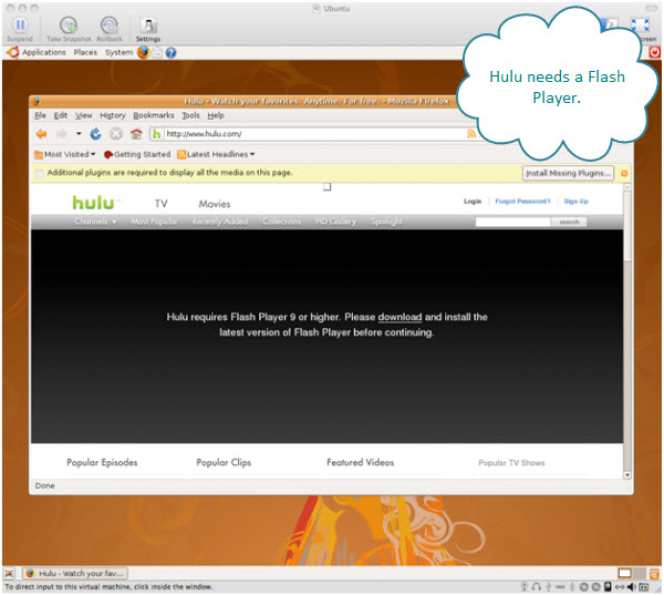 Figure 9. Hulu from FireFox inside an Ubuntu virtual machine. Requires Flash Player plugin.