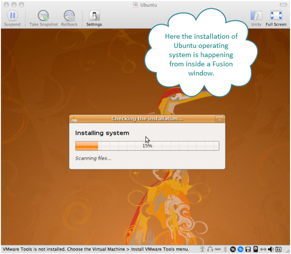 Figure 5. Progress on the installation of Ubuntu virtual machine being created by Fusion on Mac.