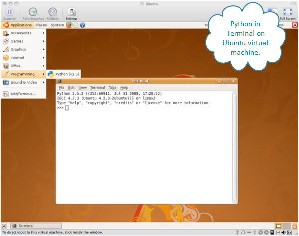 Figure 4. Running Python in command line mode inside an Ubuntu virtual machine