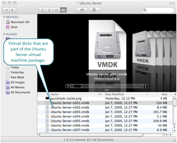 Figure 11. Ubuntu Server virtual machine file package created by Fusion on a Mac.