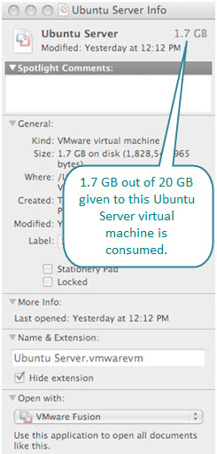 Figure 10. Hard disk requirement for Ubuntu Server virtual machine created with Fusion on a Mac. Not much else is installed on this LAMP server, and hence, only 1.7 GB of hard disk is consumed.