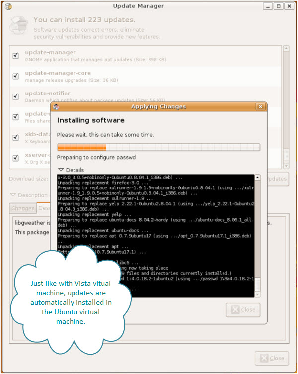 Figure 9. Updates are being installed on this Ubuntu virtual machine. By clicking on Details, you can see the log of updates.