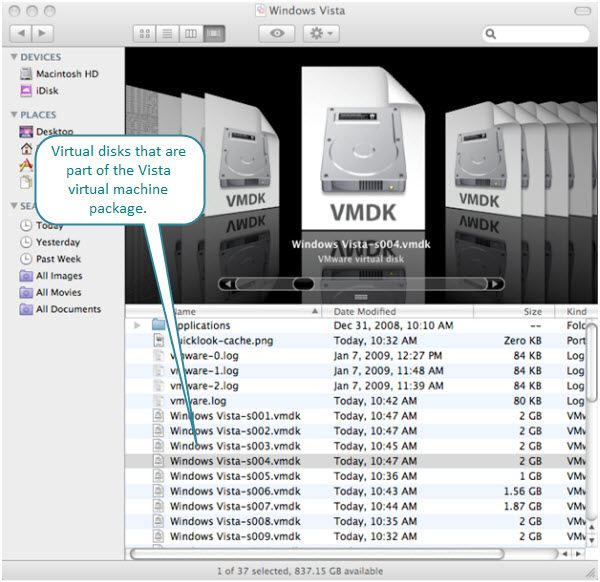 Figure 7. Windows Vista virtual machine package. The virtual disk files can be seen from the Finder on OS X.