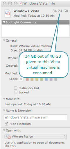 Figure 6. Windows Vista virtual machine File Package created by Fusion. 34 GB out 40 GB disk space has been used after installing the operating system and a few applications.