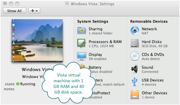Figure 2. Settings for the Windows Vista Ultimate virtual machine created with VMware Fusion on an iMac.