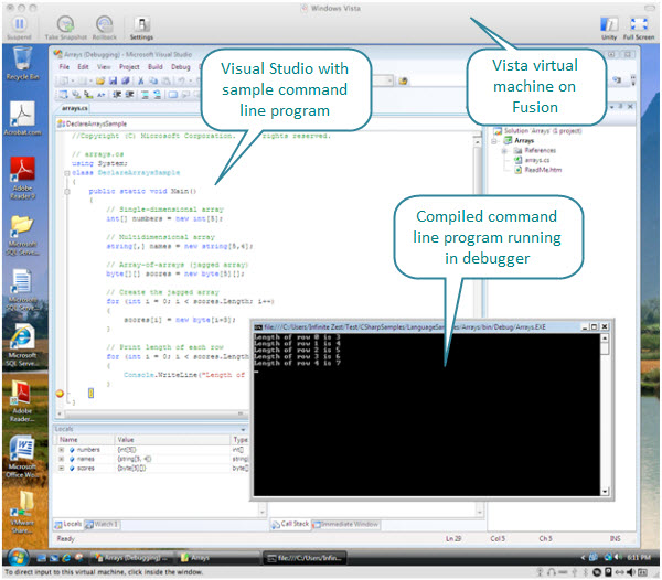 Figure 3. A sample command line application written in C#. The Visual Studio here is running inside a Fusion created Vista virtual machine on a Mac