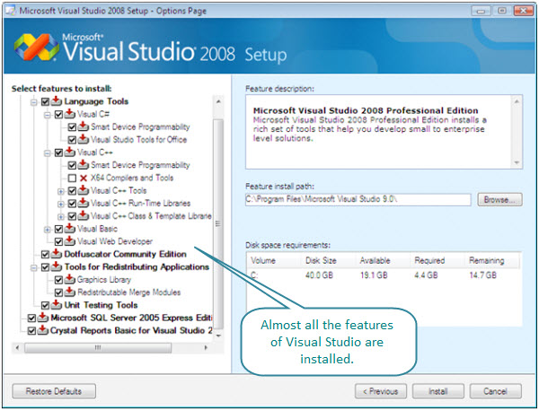 Figure 3. The tools installed with Visual Studio 2008 Professional. Everything is chosen to be installed on this virtual machine, except X64 compilers and tools.