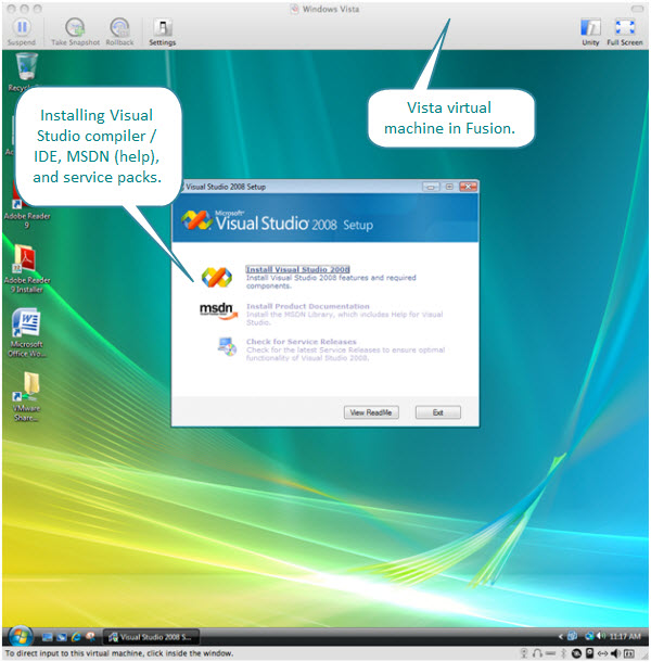 Figure 1. Installing Visual Studio on a Vista virtual machine created with Fusion. The installer provides three options - installing ide/compiler itself, installing MSDN, and checking for service packs.