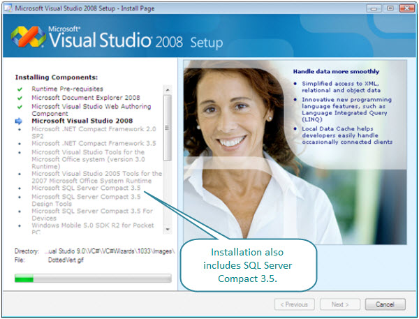 Figure 4. Visual Studio 2008 components being installed. These components include the compilers, ide, SQL Server Express and Compact, and other tools. They install fine on this Vista virtual machine without any problem.